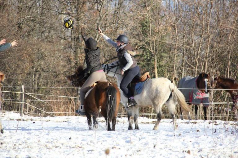 Horse ball dans la neige a Gap