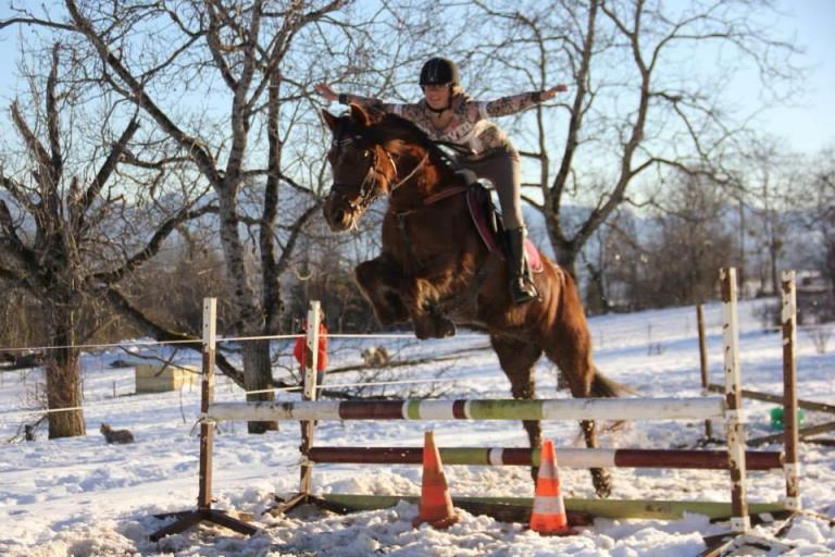 Cours d'obstacle dans la neige a Gap