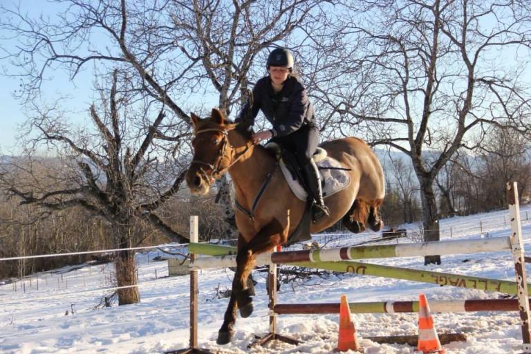 Cours d'obstacle dans la neige à Gap